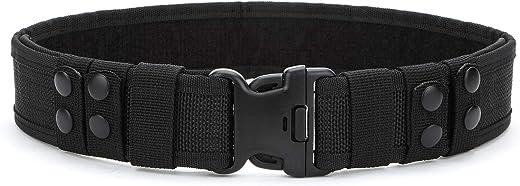 YAHILL® Seguridad Cinturón Táctico Seguro de Combate, Equipo de Utilidad, Equipo Militar por Carga Pesada & Policía al Aire Libre (Negro-Promovido)