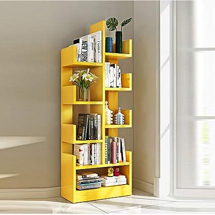 aaf0a2c4474905 Amazon.com: Shelves MEIDUO 8-Shelf Tree Bookshelf, Modern Bookcase Book  Rack Display Storage Organizer for CDs Records Books (Color : Yellow): Home  & ...