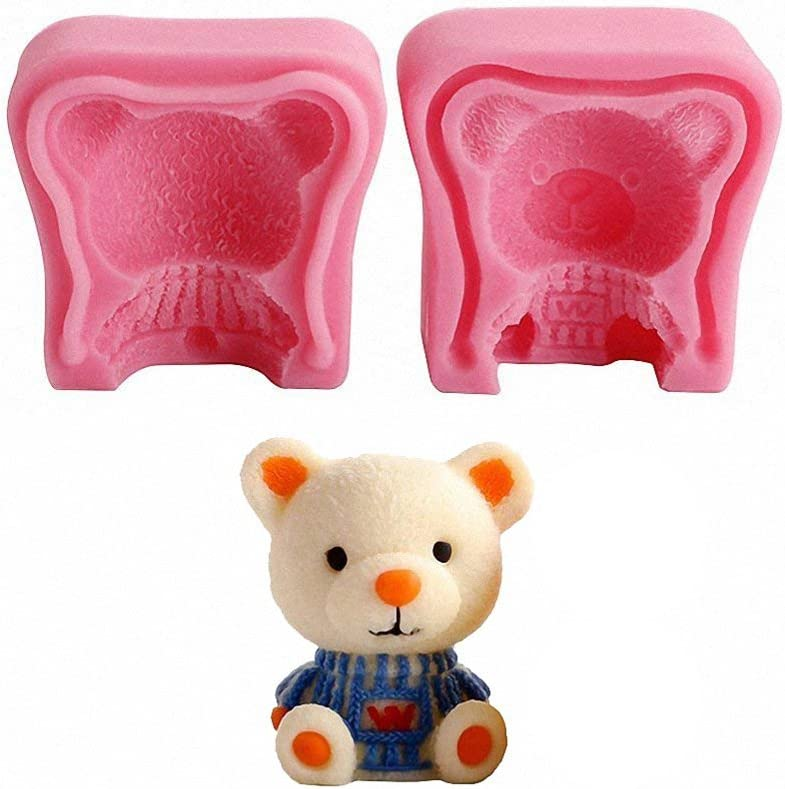 3D Teddy Bear Silicone Mold - MoldFun Bear Mold for Candle, Fondant, Chocolate, Wax Crayon, Mino Soap, Bath Bomb, Lotion Bar, Plaster of Paris