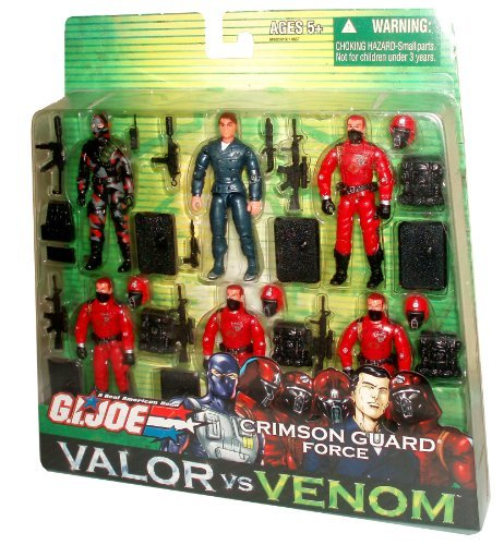 - GI Joe Year 2004 Valor vs Venom Series 6 Pack 4 Inch Tall Action Figure - CRIMSON GUARD FORCE with FIREFLY figure, XAMOT figure, 4 Crimson Guard Figure, 5 Backpacks, 5 Assault Rifles, Pistol, Sub-Machine Gun, Radio, 4 Removable Helmets and 6 Display Stands