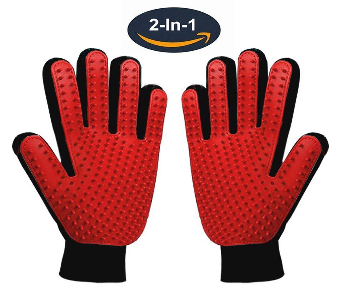 Pet Grooming Glove,Gentle Deshedding Brush Glove Hair Remover Brush for Dogs,Cats & Horses with Long & Short Fur,Enhanced Five Finger Design -One Pair Left & Right[Red]