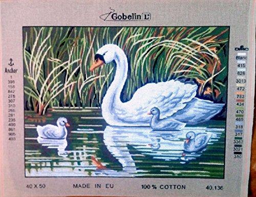 (Needlepoint Painted Canvas Cross Stitch Tapestry Kit Gobelin - Swan with cygnets. (15.5x19.5)inc 40.136 By Gobelinl L)