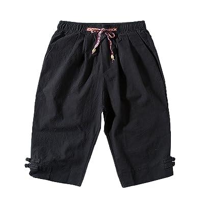low priced 01090 08489 Aden Short Homme Bermuda Casual Respirant Léger en Lin Taille Elastique  Corde De Serrage