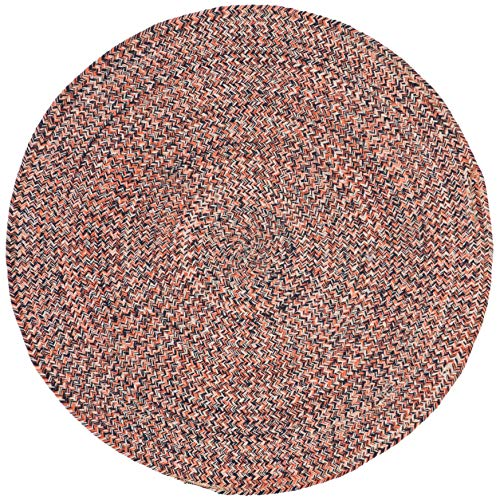 3ft Braided Circular Rug, Orange Ivory Braid Weave Round Area Rug, Terracotta Off-White Indoor Carpet Country Farmhouse Theme Circle Floor Mat Bedroom Living Dining Room Kitchen, Hand-Woven Cotton