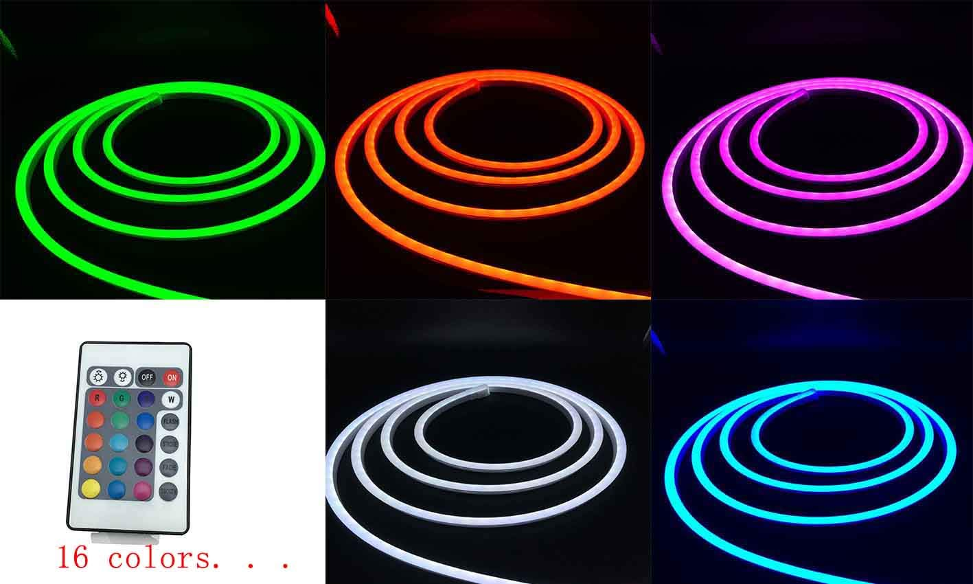 Pearlight DC12V Neon Led RGB Rope Light, Flexible/Waterproof/Multi-Color/Remote Control for Home/Garden/Architectural Decoration (10 FT / 3 Meters, RGB)