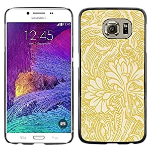 """Pulsar Snap-on Series Teléfono Carcasa Funda Case Caso para Samsung Galaxy S6 , Gold papel tapiz floral Beige Flores"""""""