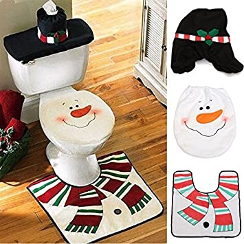 Christmas Snowman Toilet Seat Cover Rug Bathroom Mat Set Decorations MinikoTM