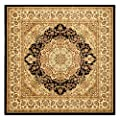 Safavieh Lyndhurst Collection LNH222A Traditional Oriental Medallion Black and Ivory Area Rug