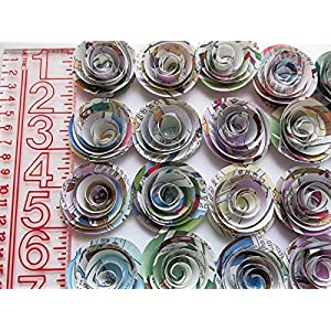 "Comic Book Page Roses, Paper Flowers Wedding Decorations, 24 Piece Set, 1.5"" Rosettes, Floral Bridal Shower Table Runner Decor, Baby Shower, Superhero Party Theme, Birthday 3"