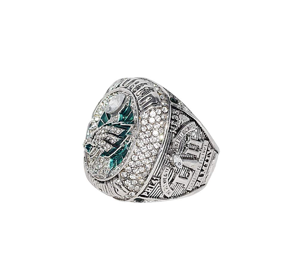 PHILADELPHIA EAGLES (Nick Foles) 2018 SUPER BOWL LII WORLD CHAMPIONS (Vs. New England Patriots) Rare Collectible Replica Silver NFL Football Championship Ring with Cherrywood Display Box