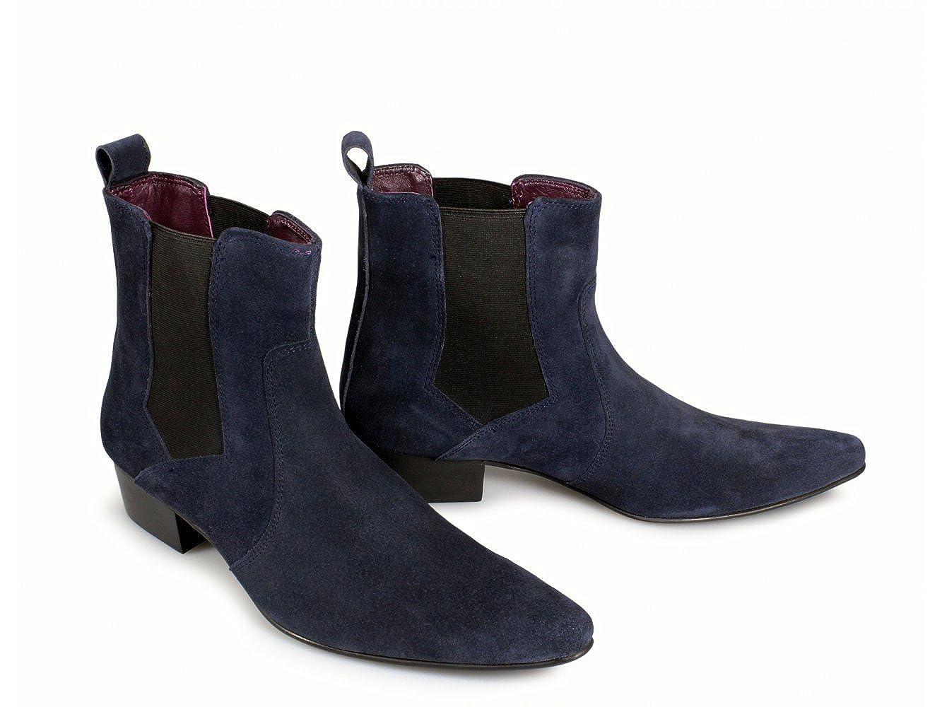 b0da00fa5b40 Gucinari ROMEO Mens Winklepicker Suede Chelsea Boots Navy UK 12   Amazon.co.uk  Shoes   Bags