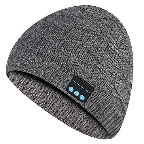 Music Beanie Hat Headphone, Unisex Outdoor Sport Wireless Musical Winter Knit Cap with Rechargeable Stereo Speaker Microphone Handsfree for Cell Phones, Android, Laptops(Grey)