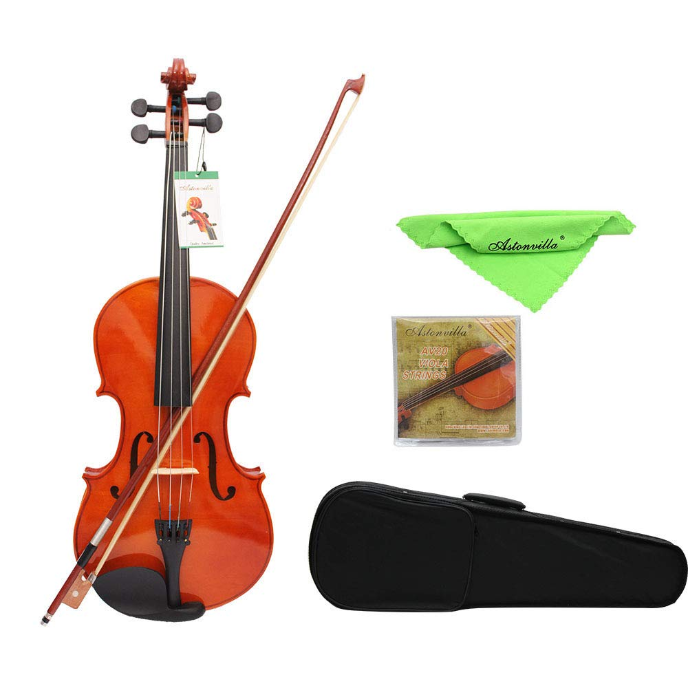 ammoon 4/4 Full Size Solid Maple Viola of 16 Inch with Case Bow Bridge and Strings