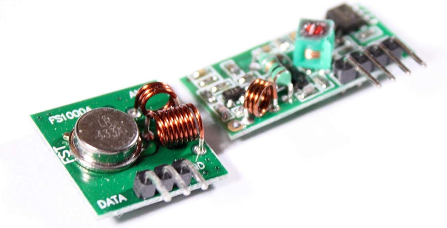 Superregeneration Wireless Transmitter Modul Einbrecher f/ür Arduino Burglar Alarm 433MHz Antenne Helical Spiral Spring Fernbedienung WayinTop 3 Set 433 MHz Funk Sende und Empf/änger Modul