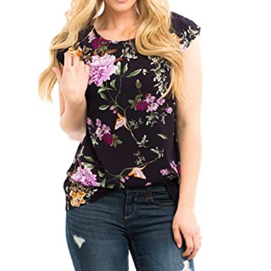 Amazon.com: DondPO Womens Tops Casual Sleeveless Floral Printed Top Shirt O Neck Vest Blouse☀ Fashion Ladies Blouse Patchwork Tops: Clothing