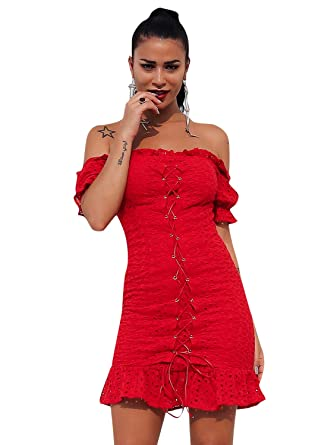 656f75354e6 Glamaker Women's Elegant Off Shoulder Bodycon Lace Up Mini Dress Short  Sleeve with Ruffle Red