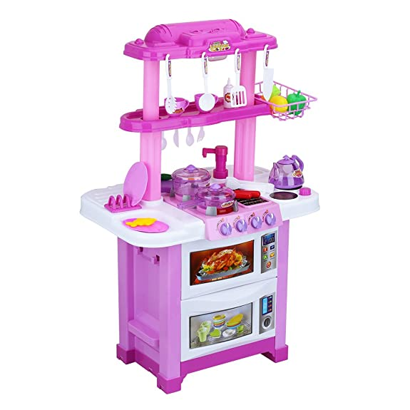 Amazon Com Virhuck Childrens Electronic Toy Kitchen Set Toddler