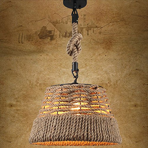 Jiuzhuo Rustic Nautical Rope Woven Drum Shaded 1-Light Pendant Light