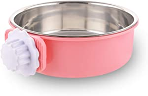 Crate Dog Bowl Removable Stainless Steel Water Food Feeder Bowls Cage Coop Cup for Cat Puppy Bird Pets (Large, Pink)
