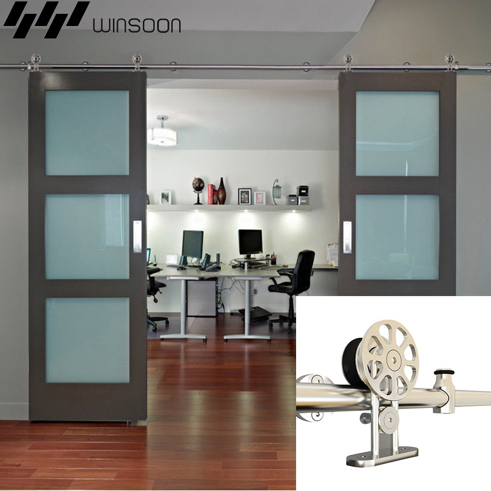 WINSOON Ship from USA Modern American Style Stainless Steel Double Sliding Barn Wood Door Hardware Track Roller Set Hanging Closet Cabinet Rail Kit (16FT / Double Door Kit) by WINSOON