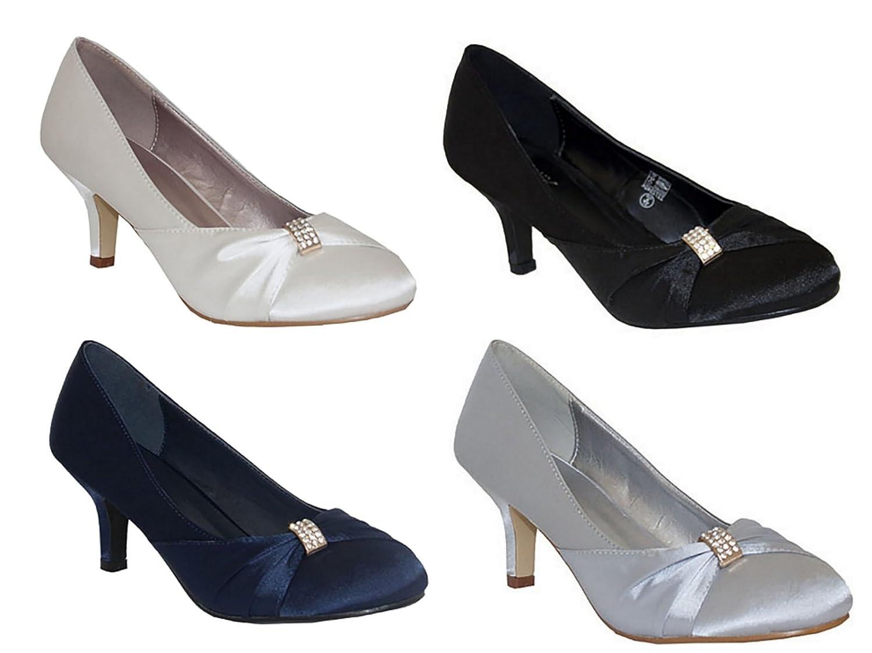 Ladies Chix Satin Diamante Kitten Heel Low Bridal Wedding Smart Prom Party  Court Shoes Size 3-8 (UK 6, Navy): Amazon.co.uk: Shoes & Bags