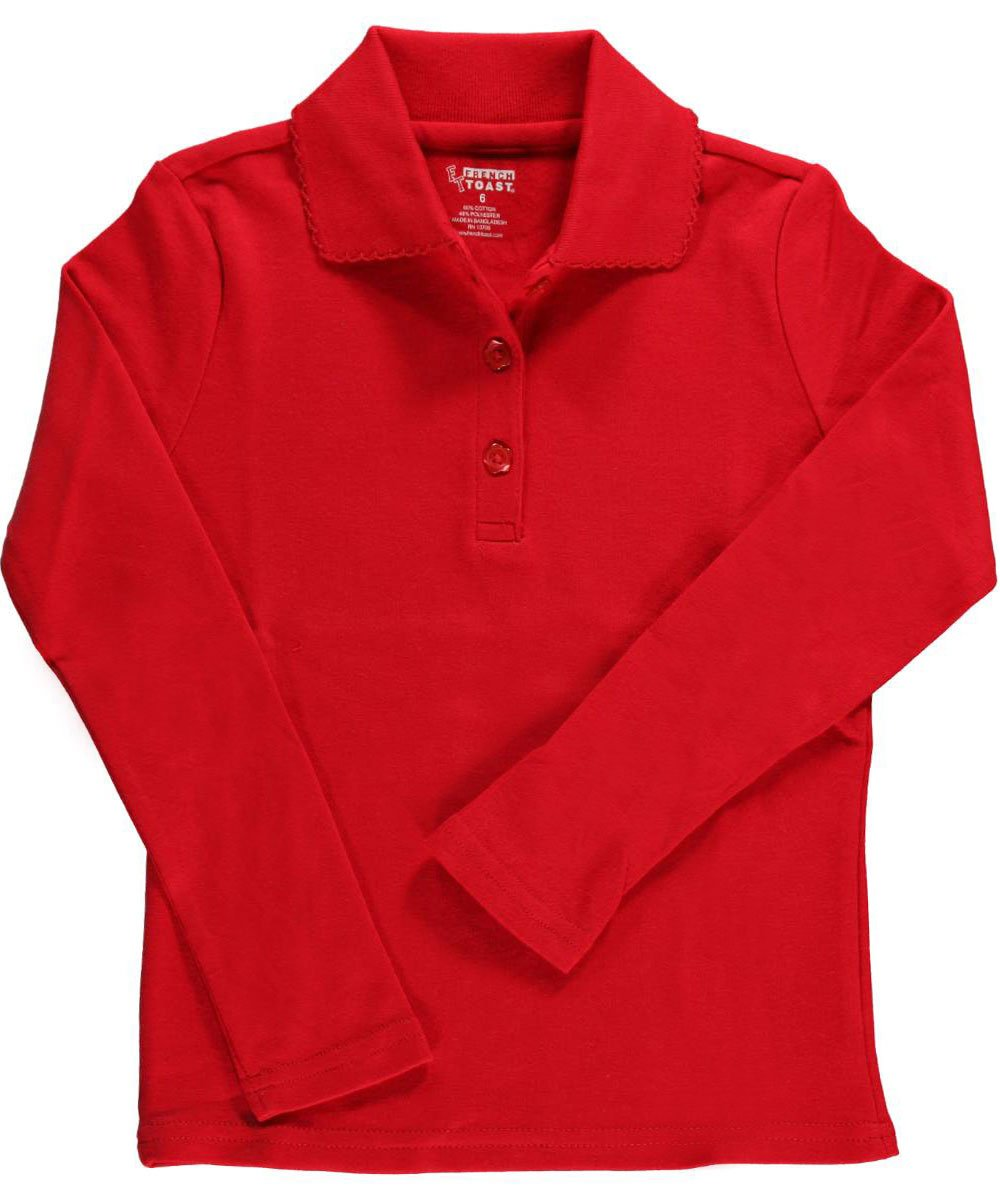 French Toast Little Girls' L/S Fitted Knit Polo With Picot Collar a9424