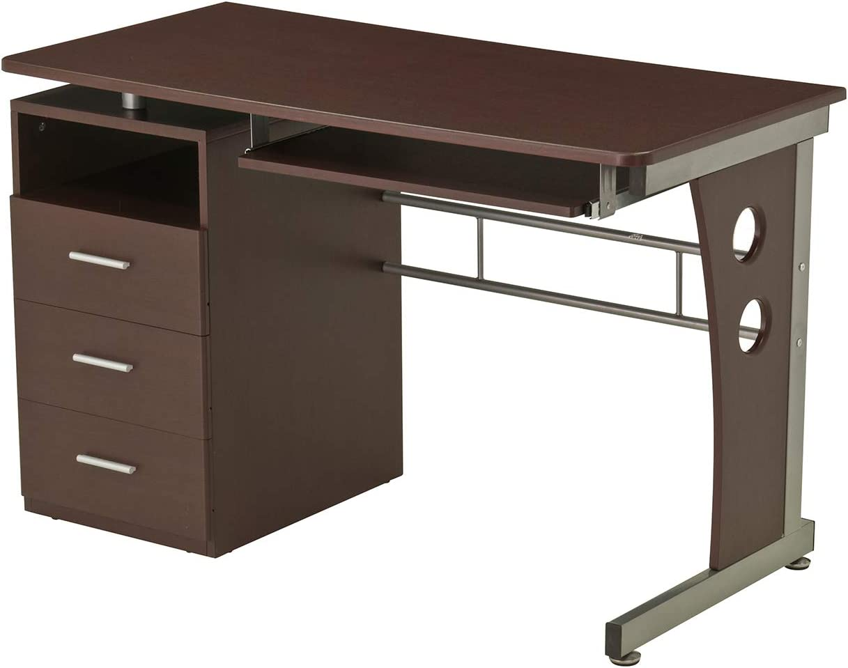 Computer Desk With Ample Storage. Color Chocolate