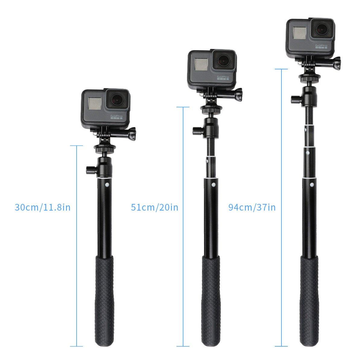 Homeet Tr/épied pour Appareil Photo daction 2 en 1 Mini tr/épied de Table Compact avec Perche /à Selfie Extensible Compatible avec cam/éras GoPro//SJCAM//Akaso//Garmin Virb//DBPOWER//YI//QUMOX//Rollei
