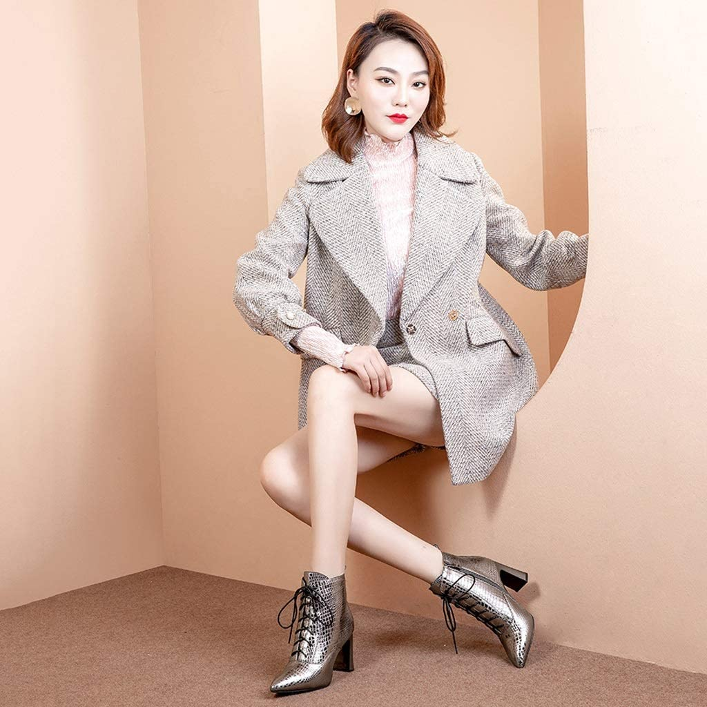 Color : White, Size : 35 Booties Womens Thick Boots 2018 Autumn and Winter New Silver Black Martin Boots Plus Velvet Pointed High-Heeled British Wind Bare Boots