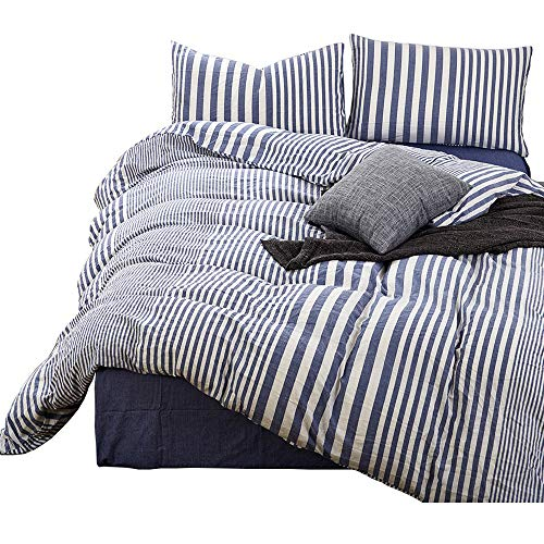 HIGHBUY Striped Pattern Queen Duvet Cover Set Cotton Blue White Printed Bedding Sets Full Size 3 Piece with Zipper Closure Simple Modern Full Bedroom Collections for Queen Bed