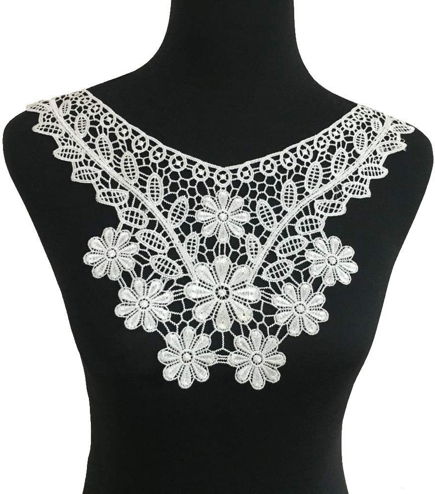 Style C White Embroidered Lace Neckline Collar Floral Brown Leaf Applique Patches Scrapbooking Embossed Sewing
