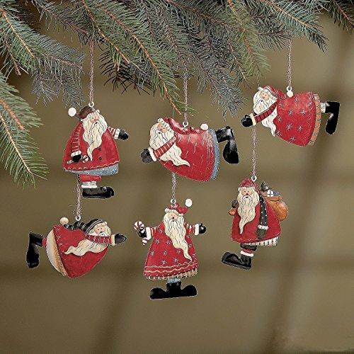 (Set of 24 Painted Tin Santa Folk Decoration Christmas Ornaments)