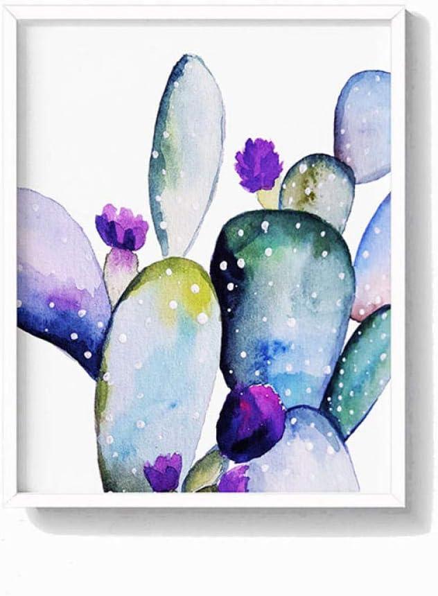 L/ámina Suculenta Pastel Arte de la pared Acuarela Cactus Carteles Sala de estar Decoraci/ón del hogar Pintura bot/ánica de la lona Cuadro de la pared 60x90cm sin marco