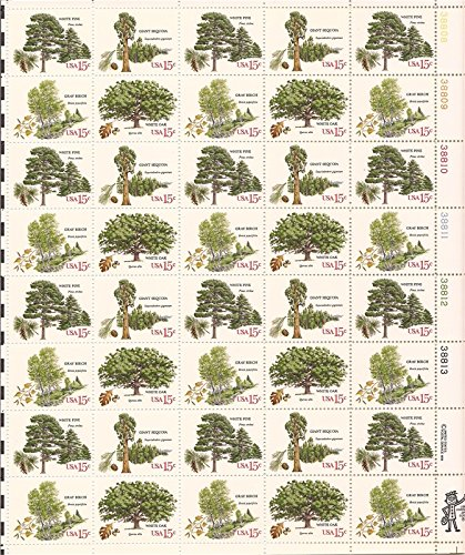 1978-american-trees-full-sheet-of-40-x-15-cent-stamps-sheet-scott-1764-7