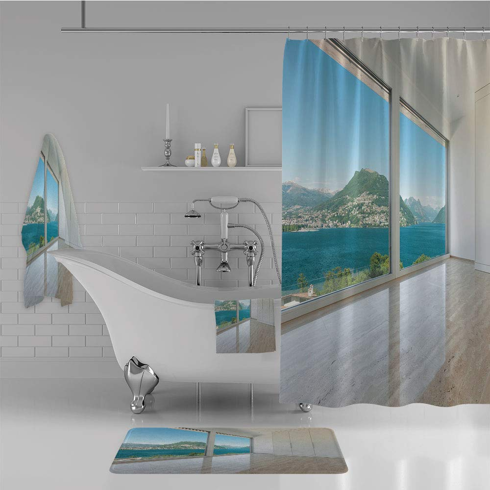 iPrint Bathroom 4 Piece Set Shower Curtain Floor mat Bath Towel 3D Print,Empty Living Room Large Windows Sea Mountains,Fashion Personality Customization adds Color to Your Bathroom.