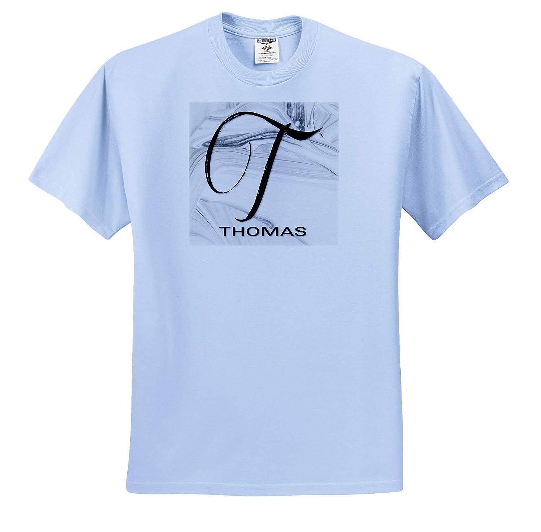 Adult T-Shirt XL ts/_310111 White Marble Monogram T 3dRose BrooklynMeme Monograms Thomas