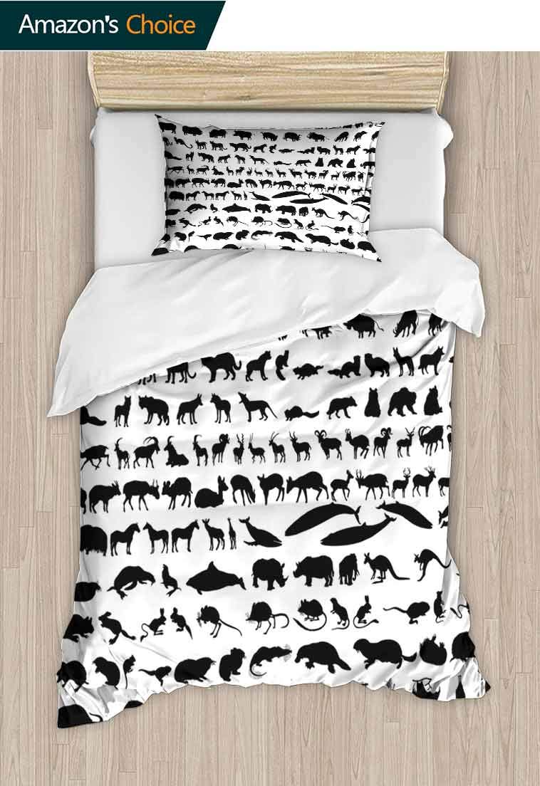 Zoo Custom Made Quilt Cover and Pillowcase Set, Silhouettes of Animals Big Collection Wildlife Nature Mammals Icons Monochrome Print, Decorative 2 Piece Bedding Set with 1 Pillow Sham Black White
