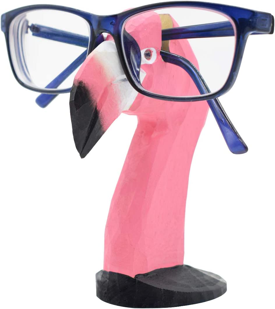 VIPbuy Handmade Wood Carving Eyeglasses Spectacle Holder Stand Sunglasses Display Rack Home Office Desk Décor Gift (Flamingo)