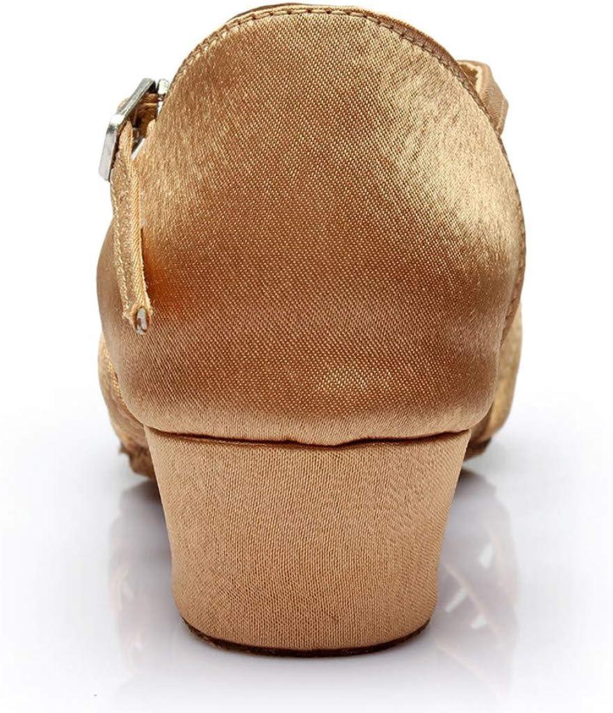BaojunHT Girls/&Womens Leapord Post Toe Latin Dance Shoes with Low Block Heels for Standard Salsa Performance Ballroom H-31
