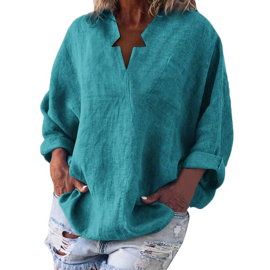 LEXUPE Damen Casual Plus Size Solide Leinen Star V-Ausschnitt Tops Mode Taschen Bluse Shirt T-Shirt
