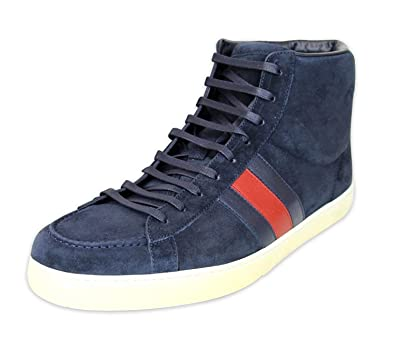 a06c8acb9de Gucci Men s Navy Suede BRB Leather Web Detail High top Sneakers 337221 4064  (8 G