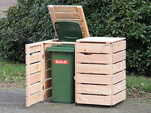 2er Mülltonnenbox / Mülltonnenverkleidung 240 L Holz, Douglasie Natur