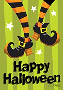 Toland Home Garden Witch Feet 12.5 x 18 Inch Decorative Happy Halloween Double Sided Garden Flag