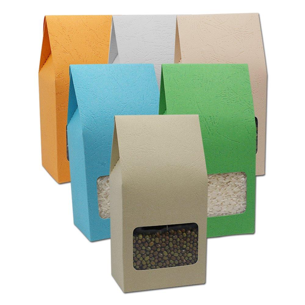 Kraftpapier Streifen Verpacken Taschen Orgel Kasten 8x15.5+5cm Stehen Kraft Papier Lagerung Beutel mit Klar Fenster Lebensmittel Nuss S/ü/ßigkeiten Bohnen Brotzeit Speicherung Faltschachtel 12 St/ück