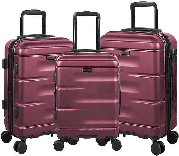 Expandable Luggage 3 Piece Set Suitcase Spinner Hardside