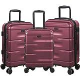 Travel Horizon Expandable Suitcases Hardside Luggage with Spinner Wheels, Burgundy, 3-Piece Set (20/24/28)