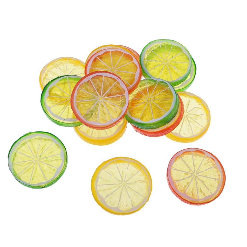 Homyl Confezione Da 15 Pezzi Realistica In Resina Decorativa Limone Fetta Di Frutta Falso Decorazione Della Casa Accessori