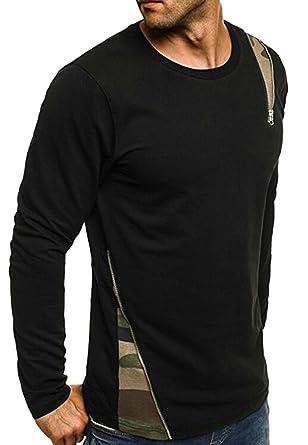 343a8809a5ff SHOWNO Mens Plaid-Stitch Casual Zip Trim Crew Neck Long Sleeve Slim T-Shirt