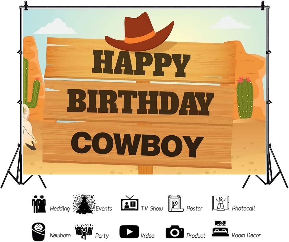 Yeele Western Desert Theme Backdrop 10x8ft Little Cowboy Birthday Party Photography Backdrop Kids Adults Artistic Portrait Birthday Banner Kids Acting Show Photo Booth Photoshoot Props Wallpaper