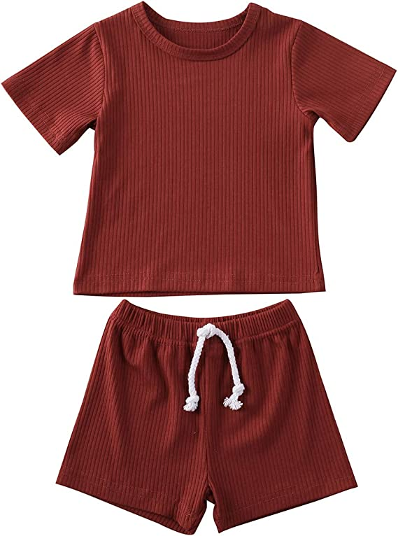 Infant Baby 2Pcs Clothes Set Newborn Boys Girls Short Sleeve Top Shorts Pants Summer Outfit